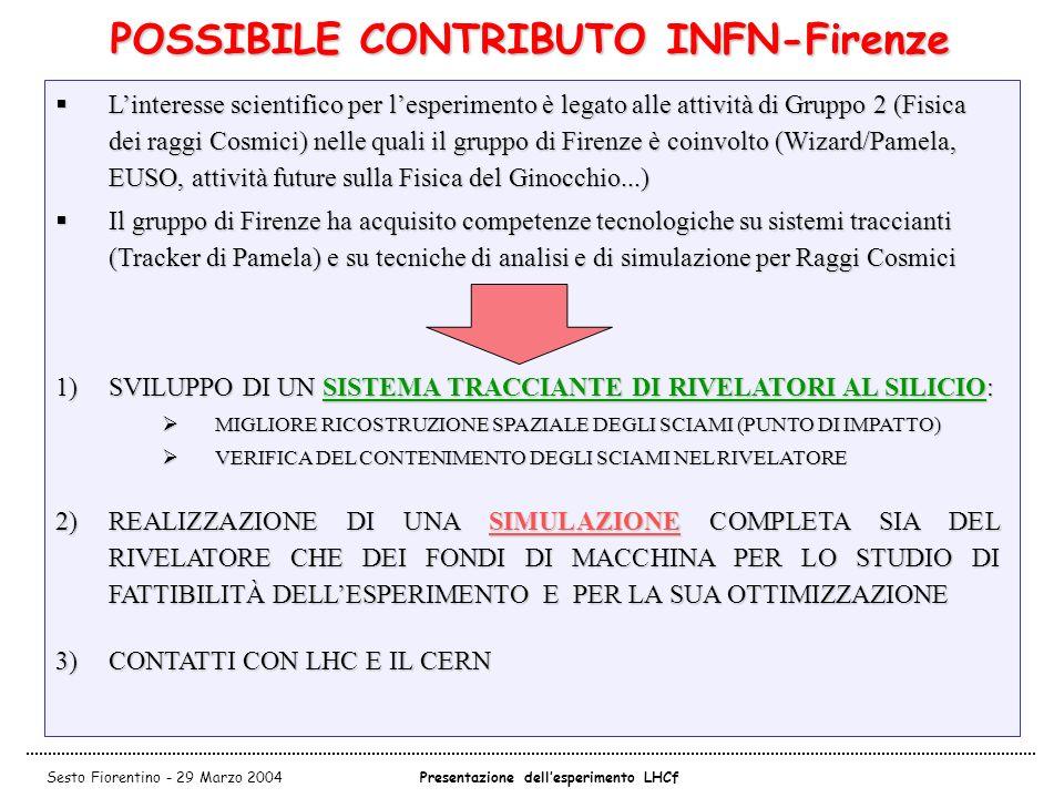 POSSIBILE CONTRIBUTO INFN-Firenze