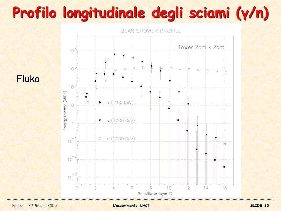 Profilo longitudinale degli sciami (γ/n)