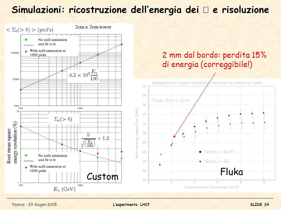 Simulazioni: ricostruzione dell'energia dei γ e risoluzione
