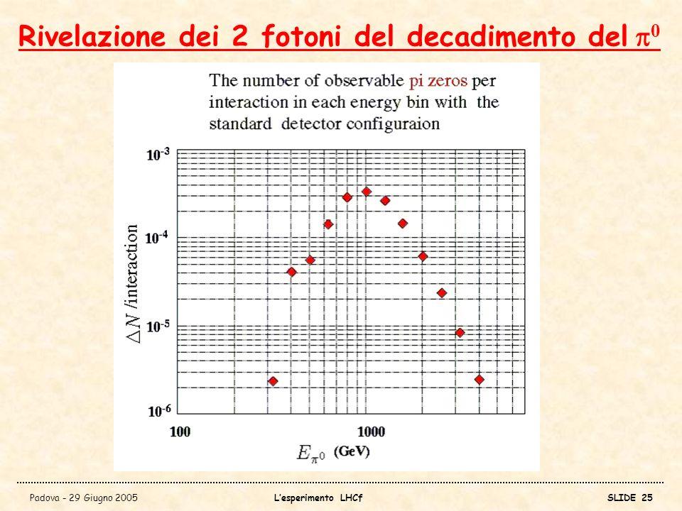 Rivelazione dei 2 fotoni del decadimento del p0