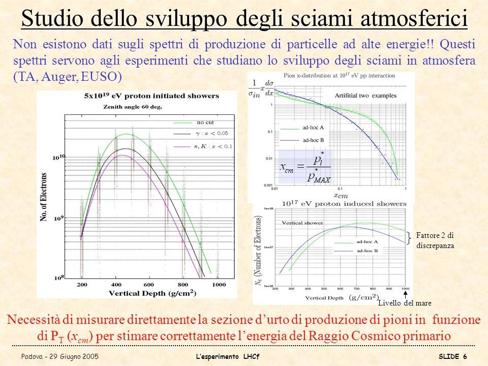 Studio dello sviluppo degli sciami atmosferici