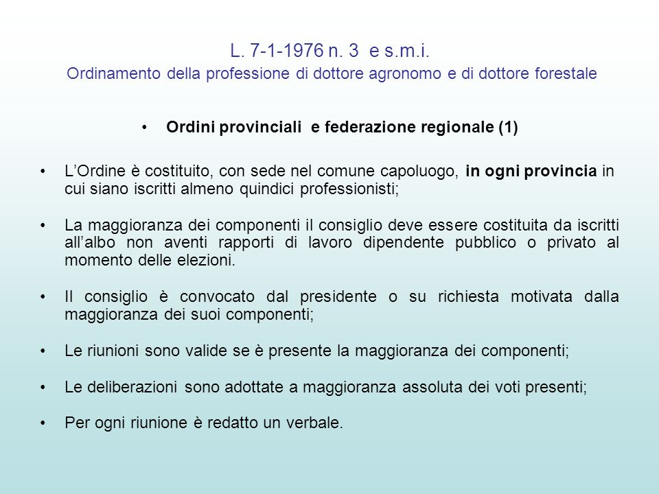 Ordini provinciali e federazione regionale (1)