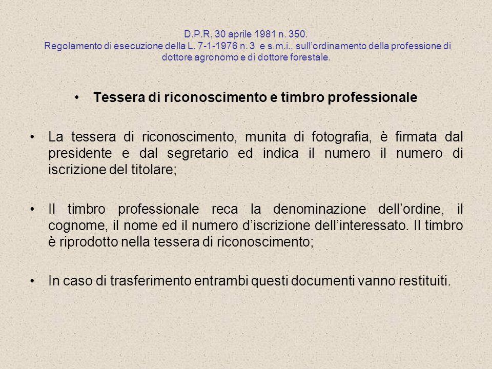 Tessera di riconoscimento e timbro professionale