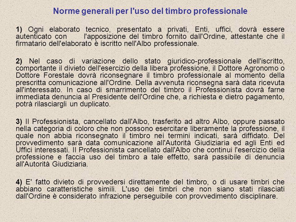 Norme generali per l uso del timbro professionale