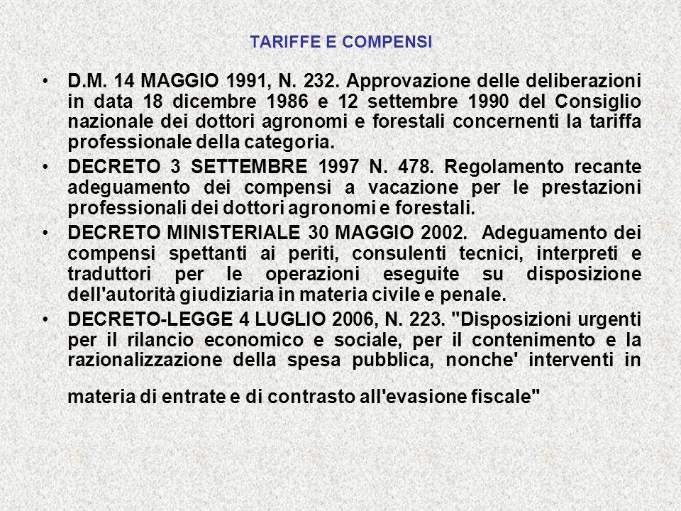 TARIFFE E COMPENSI