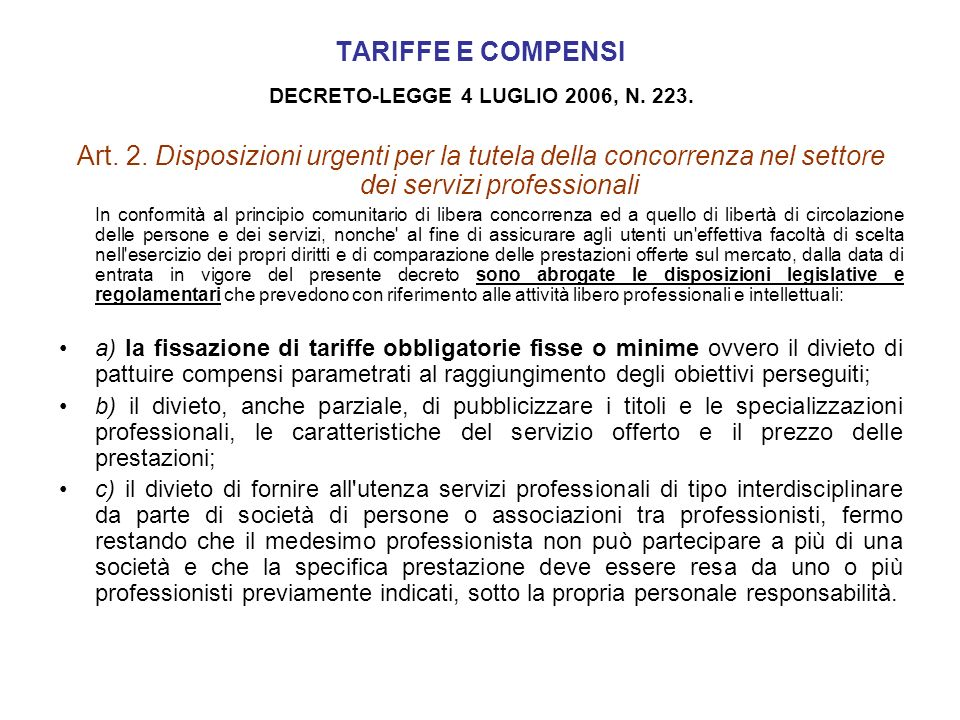 DECRETO-LEGGE 4 LUGLIO 2006, N. 223.