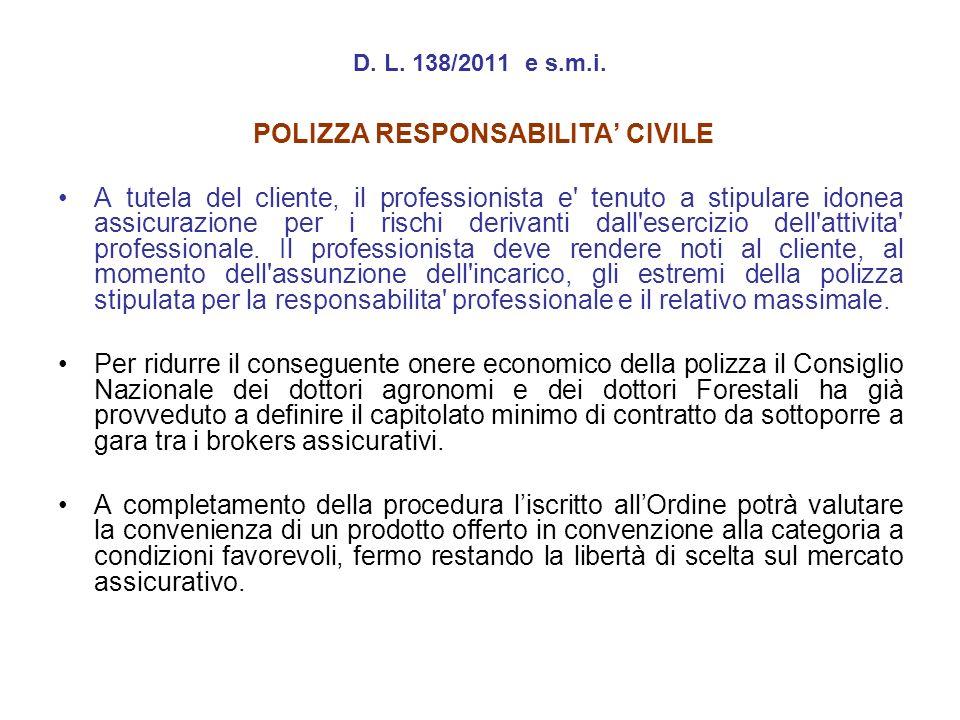 POLIZZA RESPONSABILITA' CIVILE