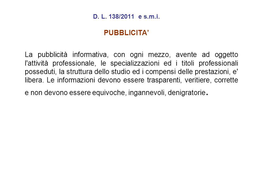 D. L. 138/2011 e s.m.i. PUBBLICITA'