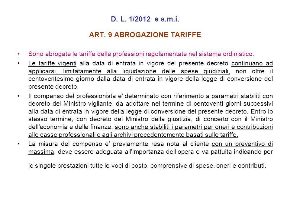 ART. 9 ABROGAZIONE TARIFFE