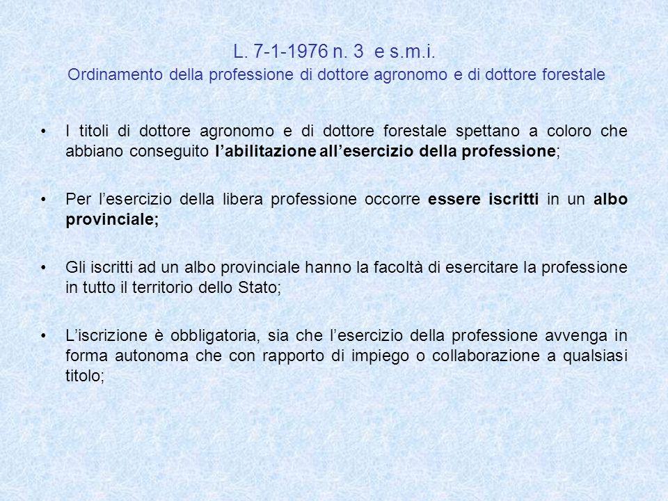 L. 7-1-1976 n. 3 e s.m.i. Ordinamento della professione di dottore agronomo e di dottore forestale