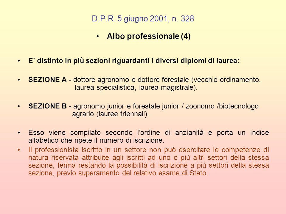 D.P.R. 5 giugno 2001, n. 328 Albo professionale (4)