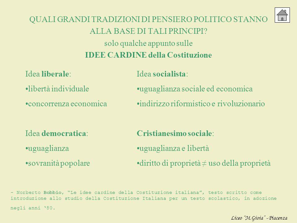 QUALI GRANDI TRADIZIONI DI PENSIERO POLITICO STANNO