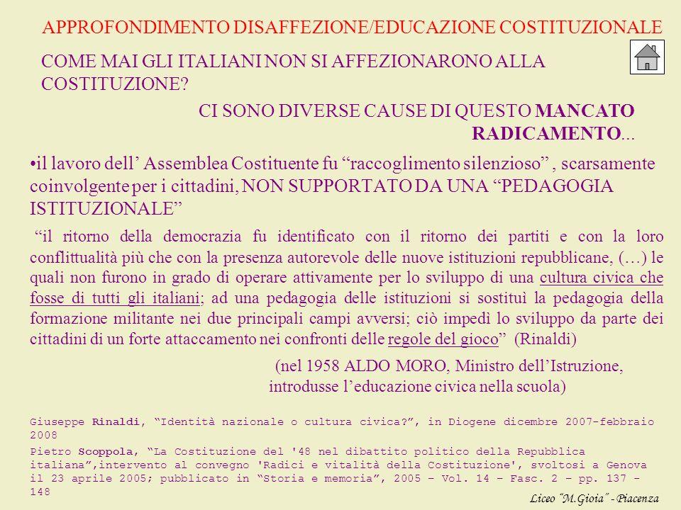 APPROFONDIMENTO DISAFFEZIONE/EDUCAZIONE COSTITUZIONALE