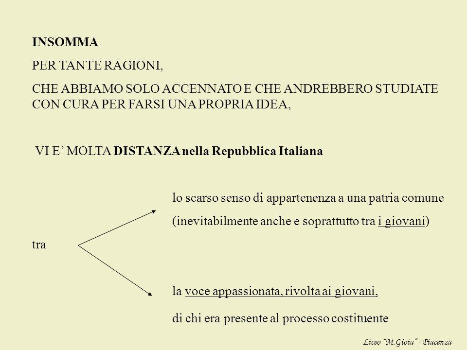 VI E' MOLTA DISTANZA nella Repubblica Italiana