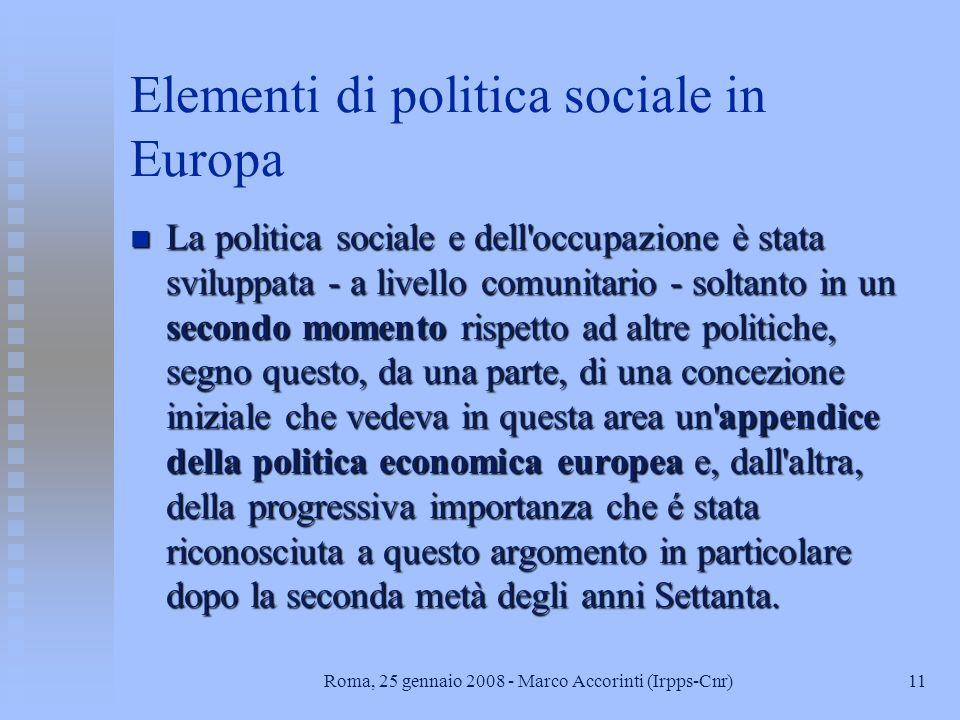 Elementi di politica sociale in Europa