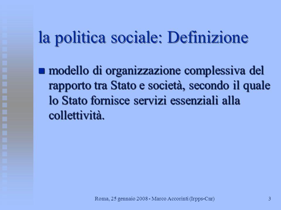 la politica sociale: Definizione