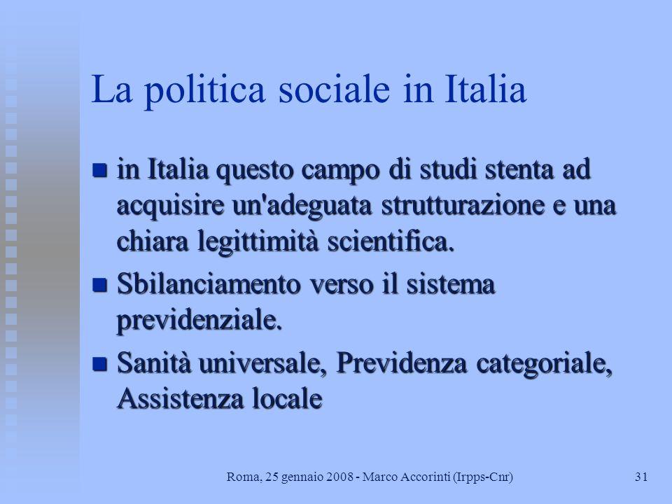 La politica sociale in Italia