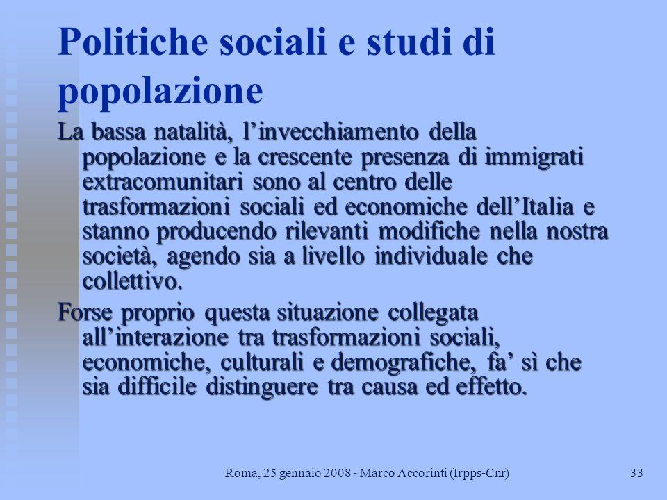 Politiche sociali e studi di popolazione