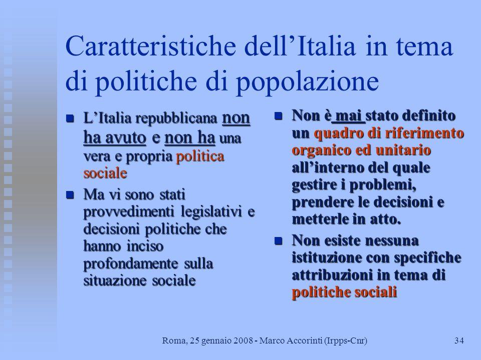 Caratteristiche dell'Italia in tema di politiche di popolazione