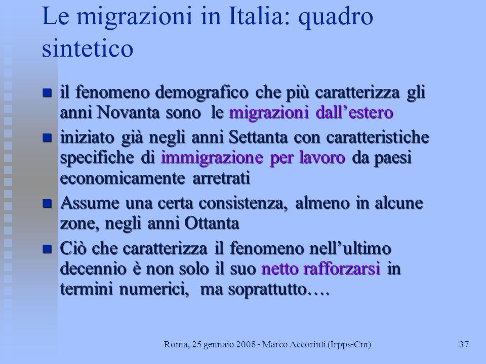 Le migrazioni in Italia: quadro sintetico