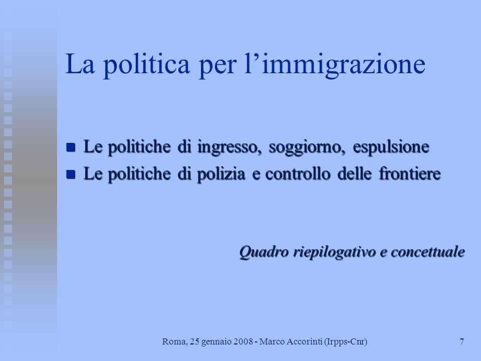 La politica per l'immigrazione