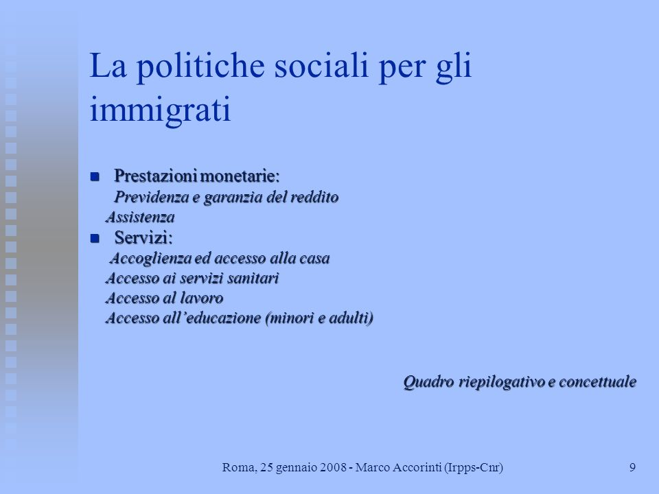 La politiche sociali per gli immigrati