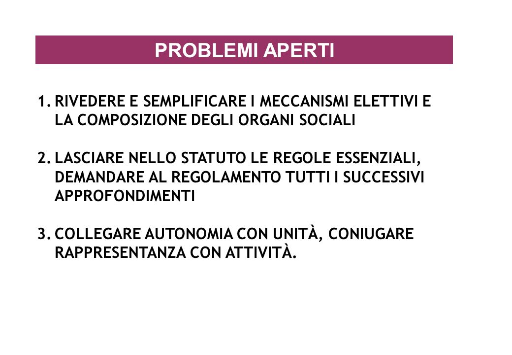 PROBLEMI APERTI RIVEDERE E SEMPLIFICARE I MECCANISMI ELETTIVI E LA COMPOSIZIONE DEGLI ORGANI SOCIALI.