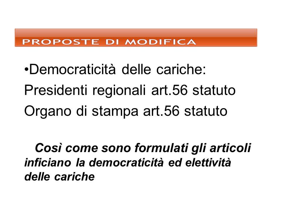 Democraticità delle cariche: Presidenti regionali art.56 statuto