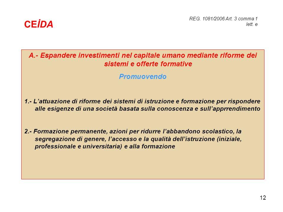 CEİDA REG. 1081/2006 Art. 3 comma 1 lett. e. A.- Espandere investimenti nel capitale umano mediante riforme dei sistemi e offerte formative.