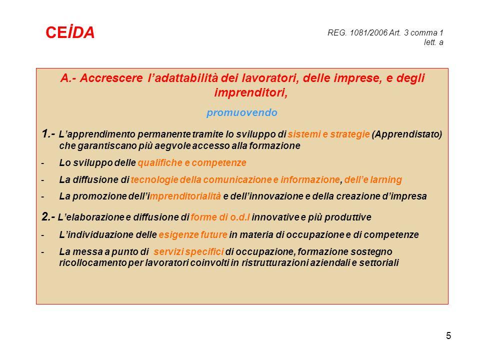 REG. 1081/2006 Art. 3 comma 1 lett. a CEİDA. A.- Accrescere l'adattabilità dei lavoratori, delle imprese, e degli imprenditori,