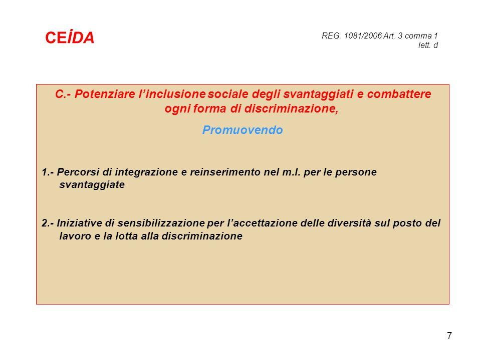 CEİDA REG. 1081/2006 Art. 3 comma 1 lett. d. C.- Potenziare l'inclusione sociale degli svantaggiati e combattere ogni forma di discriminazione,