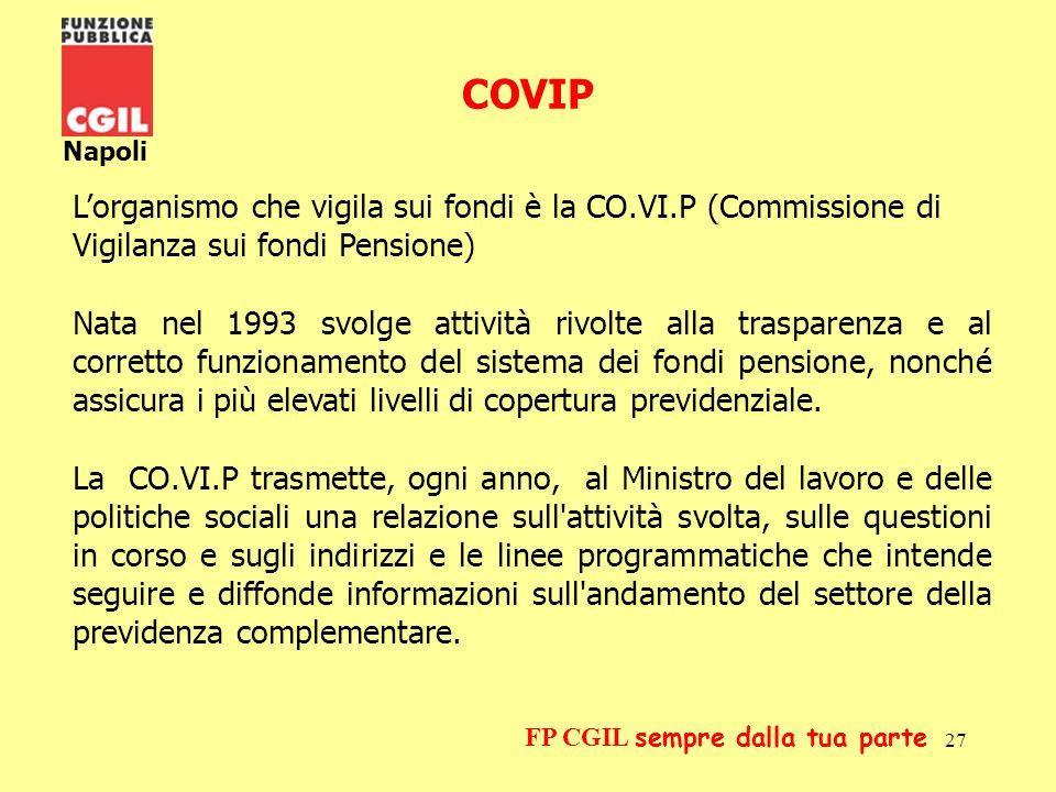 COVIP Napoli. L'organismo che vigila sui fondi è la CO.VI.P (Commissione di Vigilanza sui fondi Pensione)