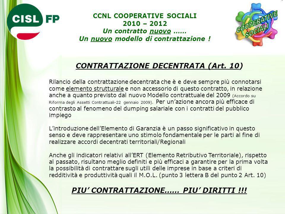 CONTRATTAZIONE DECENTRATA (Art. 10)