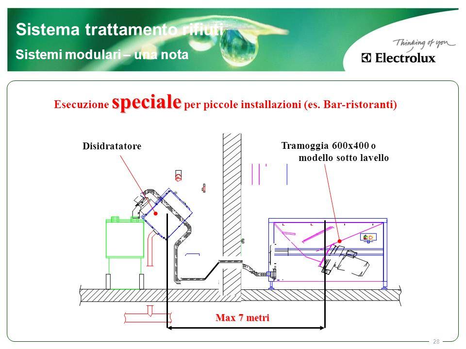 Esecuzione speciale per piccole installazioni (es. Bar-ristoranti)