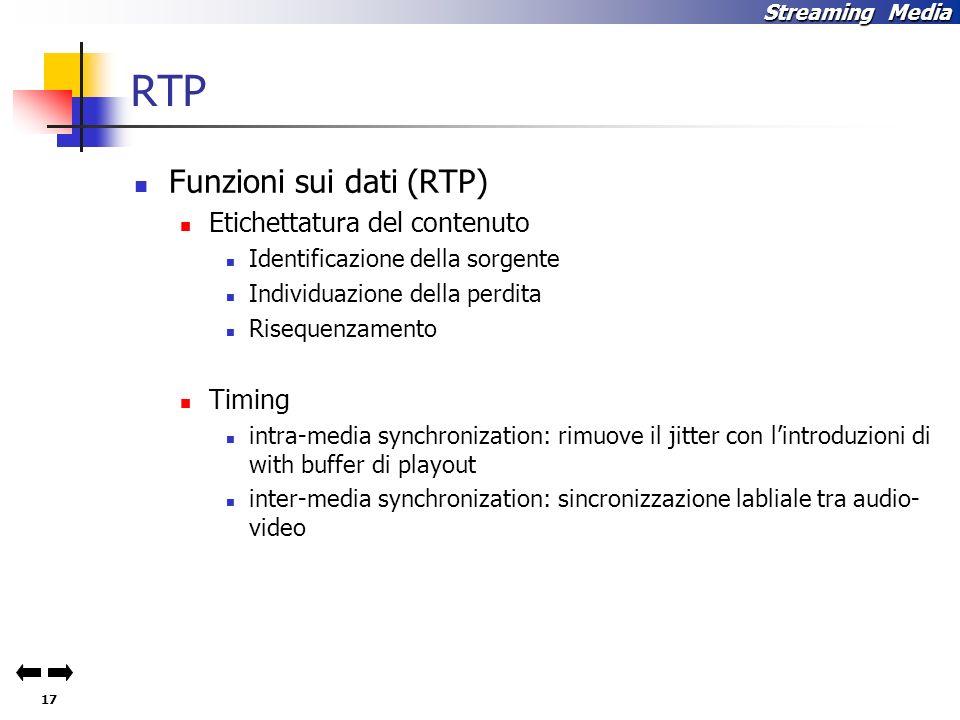 RTP Funzioni sui dati (RTP) Etichettatura del contenuto Timing