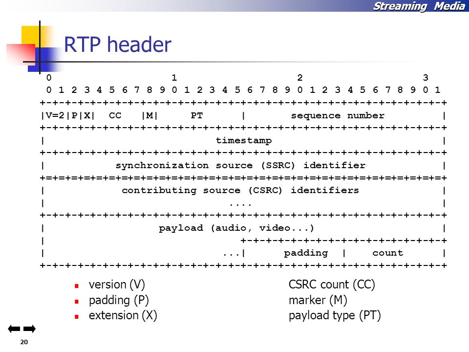 RTP header version (V) CSRC count (CC) padding (P) marker (M)