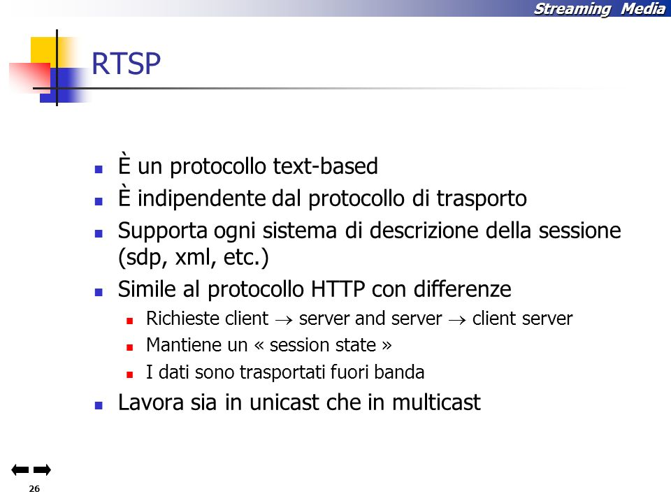 RTSP È un protocollo text-based