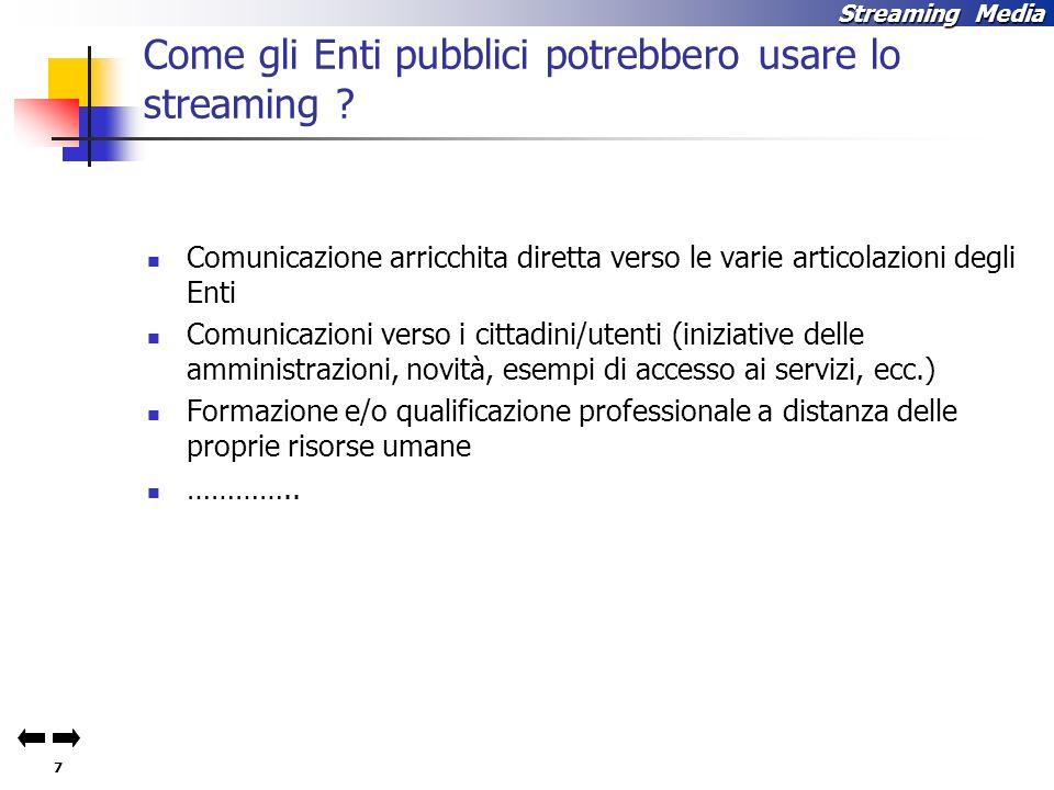 Come gli Enti pubblici potrebbero usare lo streaming