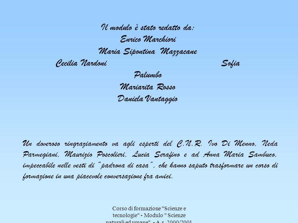 Il modulo è stato redatto da: Enrico Marchiori Maria Sipontina Mazzacane Cecilia Nardoni Sofia Palumbo Mariarita Rosso Daniela Vantaggio