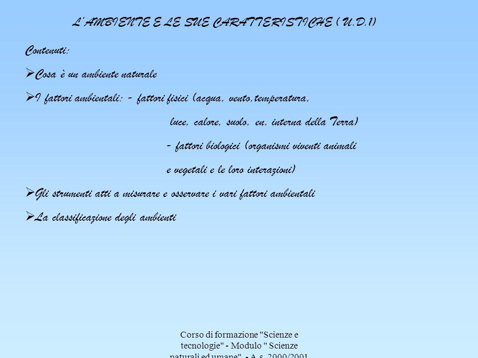 L'AMBIENTE E LE SUE CARATTERISTICHE ( U.D.1)
