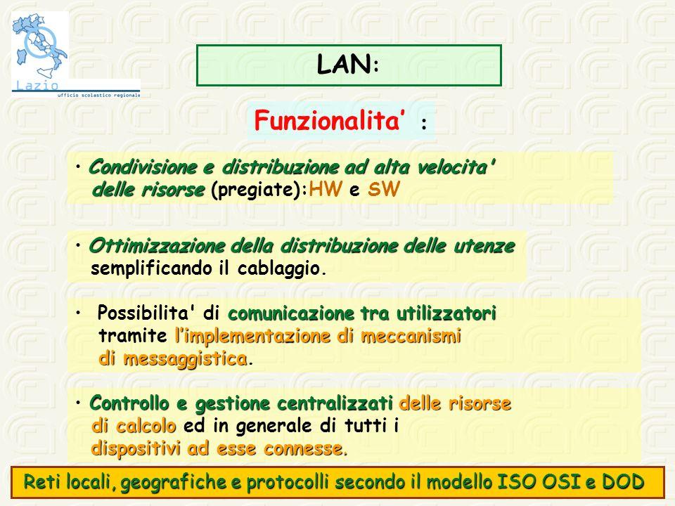 LAN: Funzionalita' : • Condivisione e distribuzione ad alta velocita