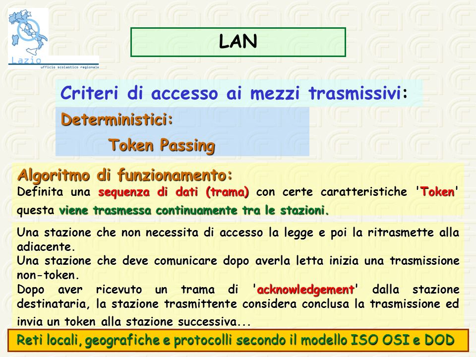 Criteri di accesso ai mezzi trasmissivi: