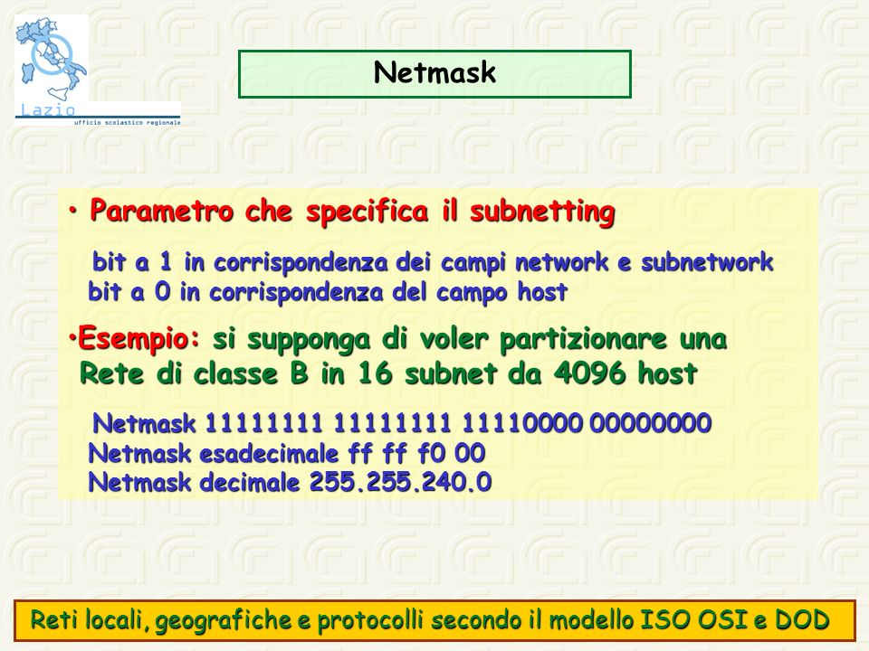 Parametro che specifica il subnetting