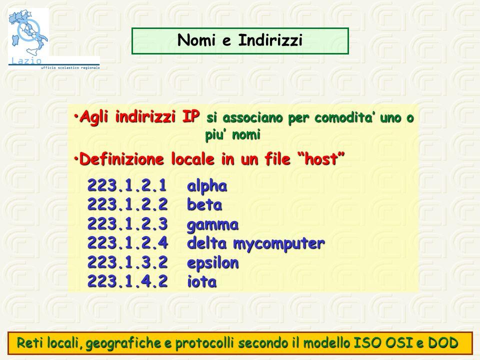 Agli indirizzi IP si associano per comodita' uno o