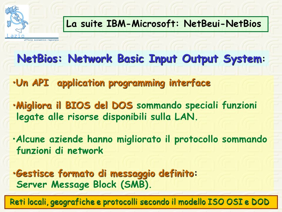 NetBios: Network Basic Input Output System: