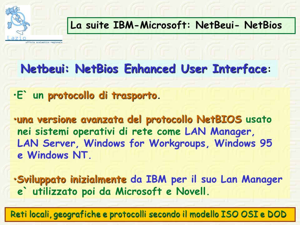 Netbeui: NetBios Enhanced User Interface: