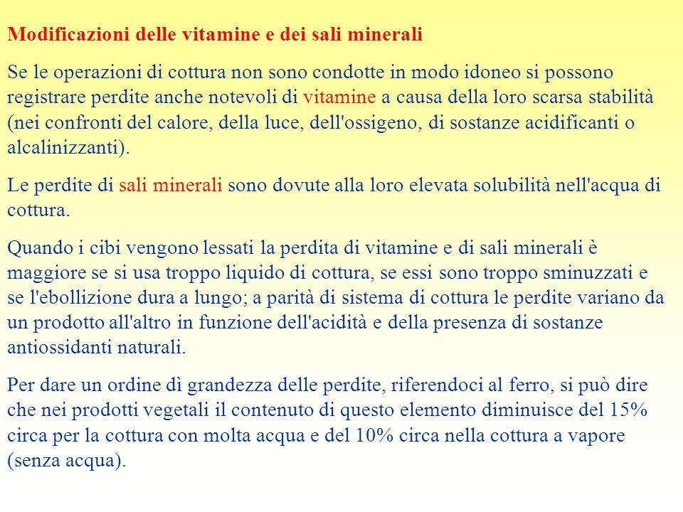 Modificazioni delle vitamine e dei sali minerali