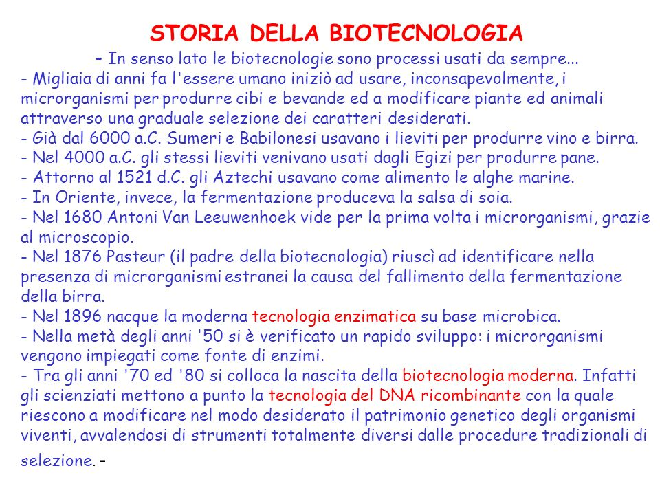 STORIA DELLA BIOTECNOLOGIA
