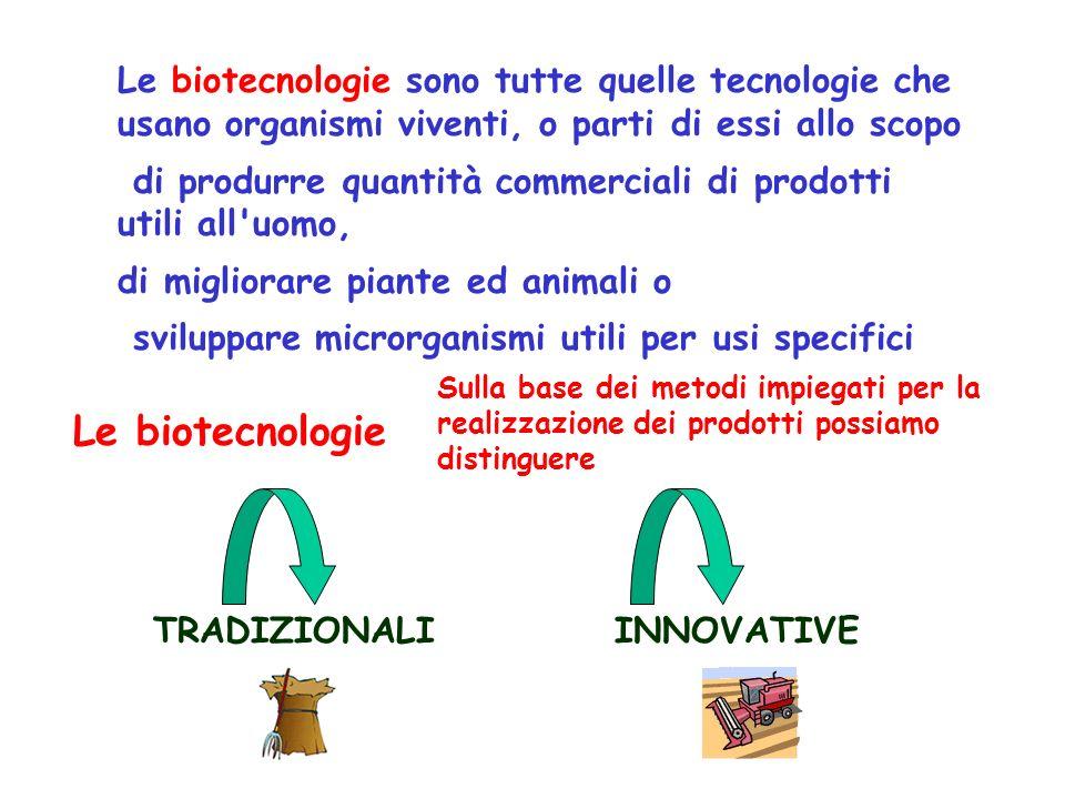 Le biotecnologie sono tutte quelle tecnologie che usano organismi viventi, o parti di essi allo scopo