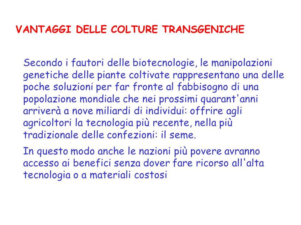 VANTAGGI DELLE COLTURE TRANSGENICHE